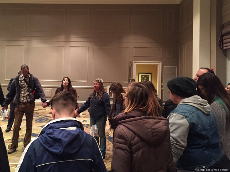 LGBT activists hold a prayer protest at Proclaim16