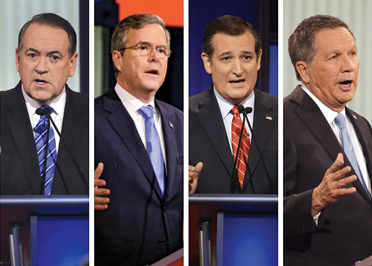 From left: Mike Huckabee, Jeb Bush, Ted Cruz, and John Kasich at a GOP presidential debate in Des Moines, Iowa, on Jan. 28.