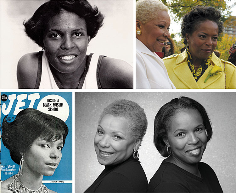 Clockwise from top left: Olympian Gail Marquis in 1980, their wedding, Audrey Smaltz on the cover of Jet in 1962 , Smaltz and Marquis