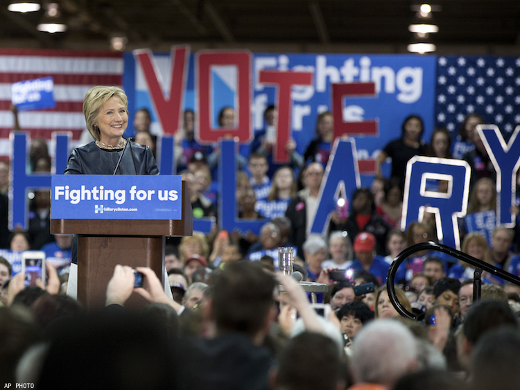 Hillary Clinton speaks to supporters in St. Louis, Missouri