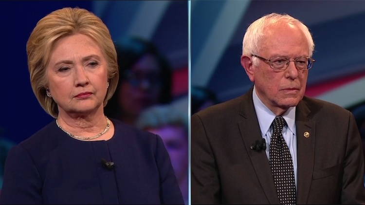 Hillary Clinton and Bernie Sanders respond to voter questions at a Democratic town hall in Columbus