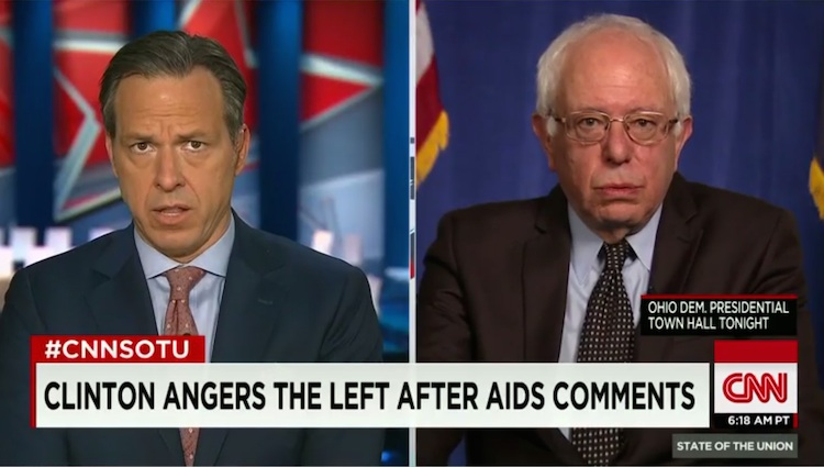 Jake Tapper of CNN and Vermont Senator Bernie Sanders