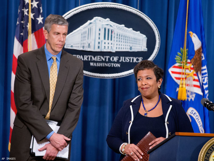 Education Secretary Arne Duncan and United States Attorney General Loretta Lynch