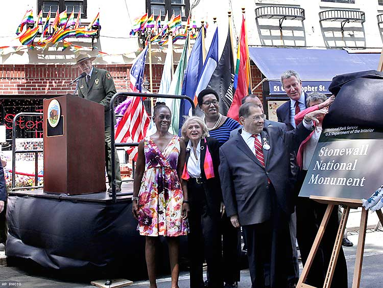 The dedication of the Stonewall National Monument outside the Stonewall Inn