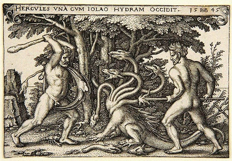 Heracles And Iolaus Dispatching The Hydra With Club And Fire Depicted In 1545 By German Engraver Painter Hans Sebald Beham