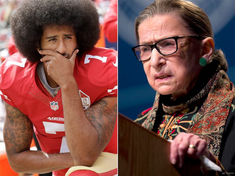 Colin Kaepernick responds to Justice Ruth Bader Ginsburg's criticism of anthem protests