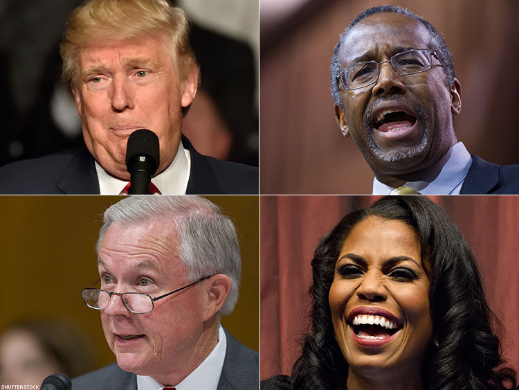 Donald Trump, Ben Carson, Omarosa Manigault, Jeff Sessions