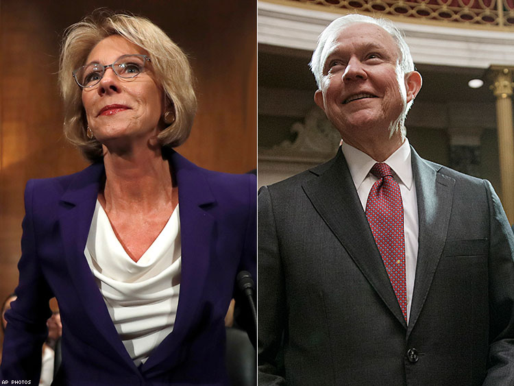 Betsy DeVos and Jeff Sessions