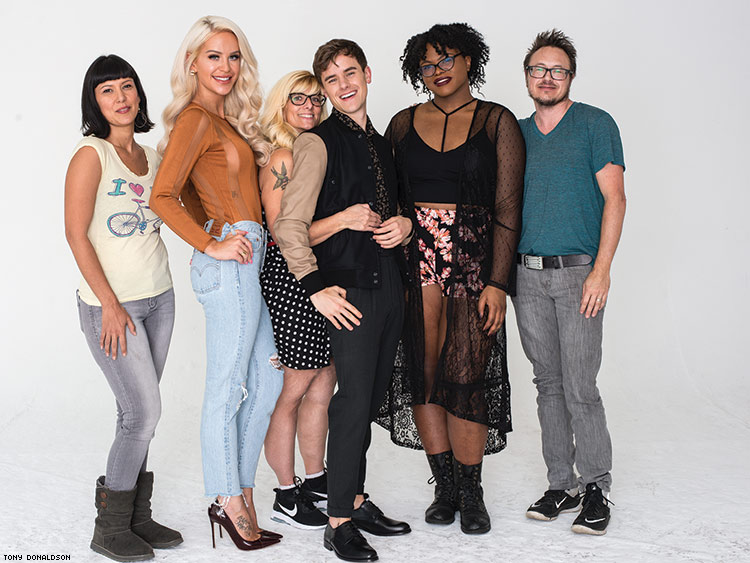 From left: Assistant editor Desiree Guerrero, Gigi Gorgeous, me, Connor Franta, Kat Blaque, and senior editor Jacob Anderson-Minshall