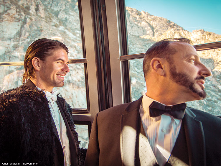For their wedding, actor Massimo Dobrovic (left) and Paolo De Angelis rode the Palm Springs Aerial Tramway from the desert floor, 8,516 feet into the air to the snowy Mt. San Jacinto State Park.