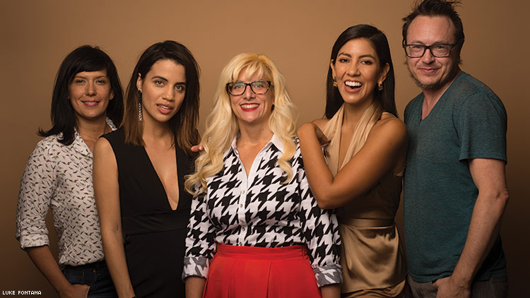 On the Set (below from left): Associate editor Desirée Guerrero, Natalie Morales, me, Stephanie Beatriz, and deputy editor Jacob Anderson-Minshall