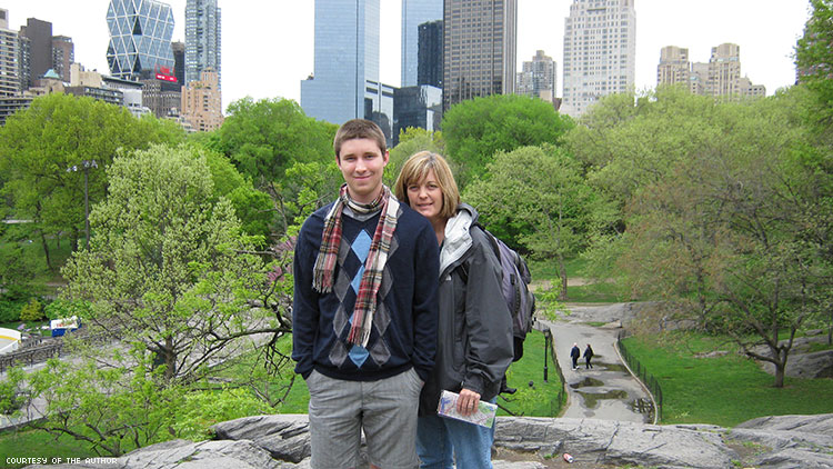 The author and his mother in Central Park.