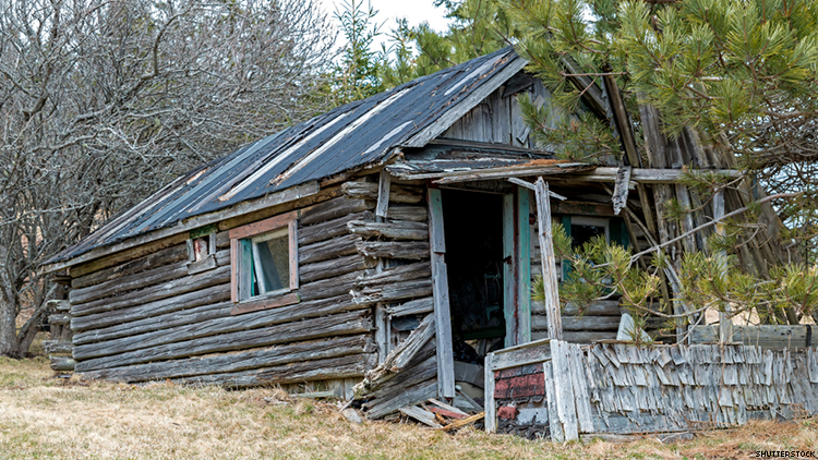 this log cabin has collapsed