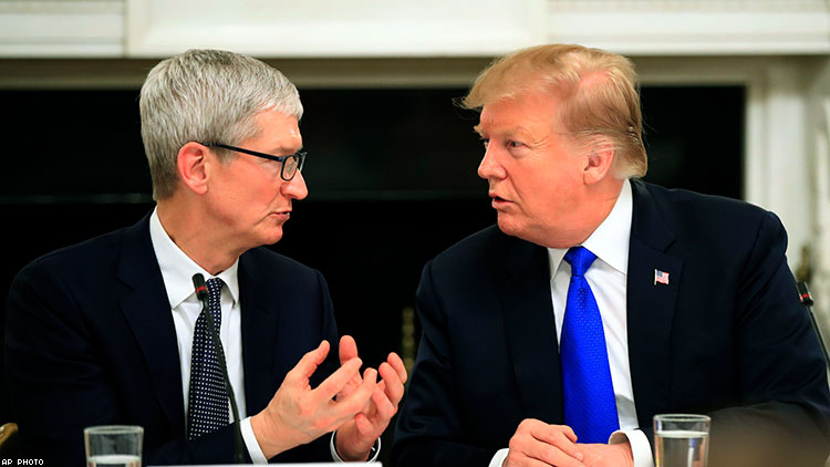 Trump Can't Get His 'Tim Apple' Stories Straight