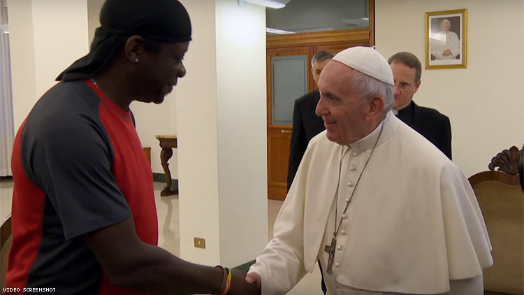 Stephen Amos and Pope Francis