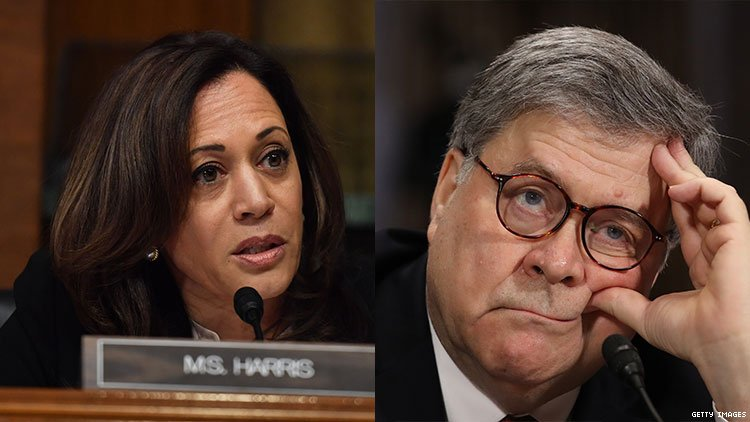 Watch Sen. Kamala Harris Eat Attorney General William Barr for Lunch