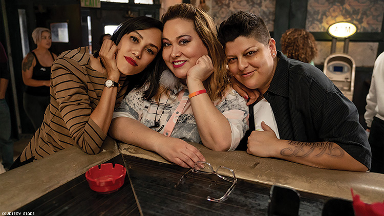 Ser Anzoategui (right) with Vida creator Tanya Saracho (center) and costar Mishel Prada (left)