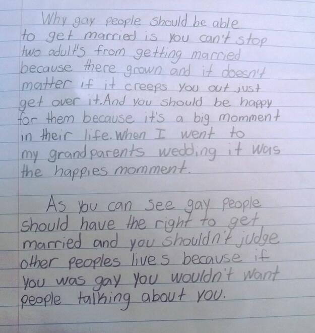 fourth grade teacher shares student s pro marriage equality essay  biomqd cuaaqpes 0