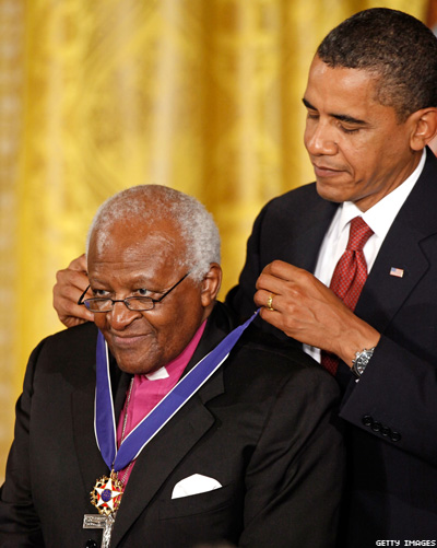 Desmond Tutu awarded the Congressional Medal of Freedom
