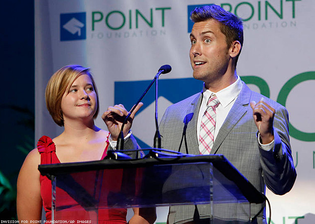 Lance Bass, right, with Point Scholar Cara Cerise