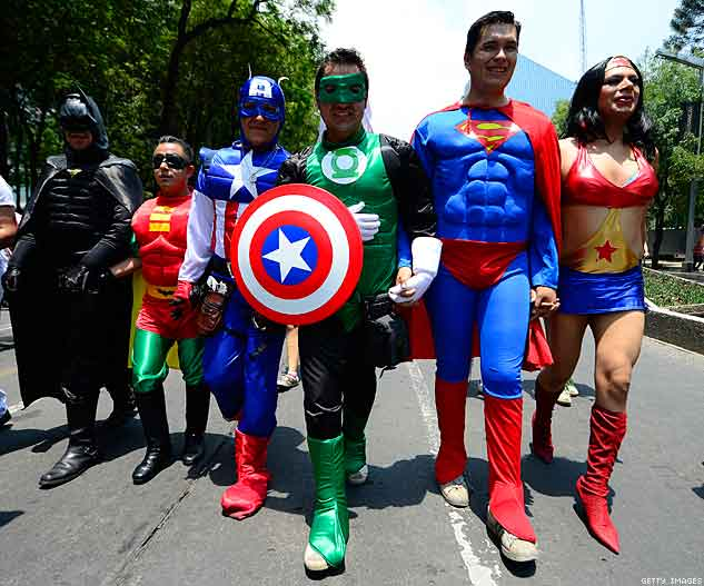 People dressed like American Superheroes take part in a gay parade in Mexico City X633 | ADVOCATE.COM