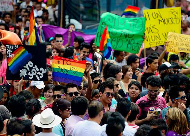 People take part in the Gay Pride Parade in Mexico City, on June 2 crowd x633 | advocate.com