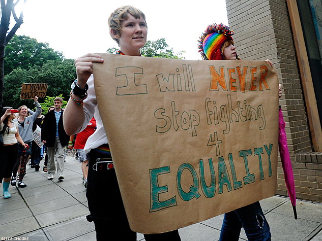 Activists Protest NC Amendment Banning Gay Marriage X633 | ADVOCATE.COM