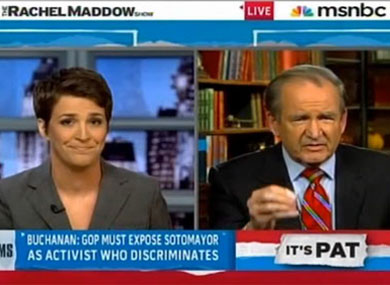 Rachel Maddow and Pat Buchanan x390 (Screengrab) | Advocate.com