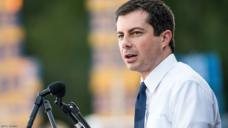 Democratic presidential candidate, Mayor of South Bend, Indiana Pete Buttigieg addresses a crowd at The Galivants Ferry Stump on September 16, 2019