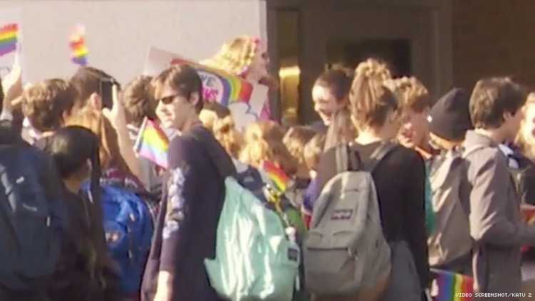 Protesters at West Linn High School