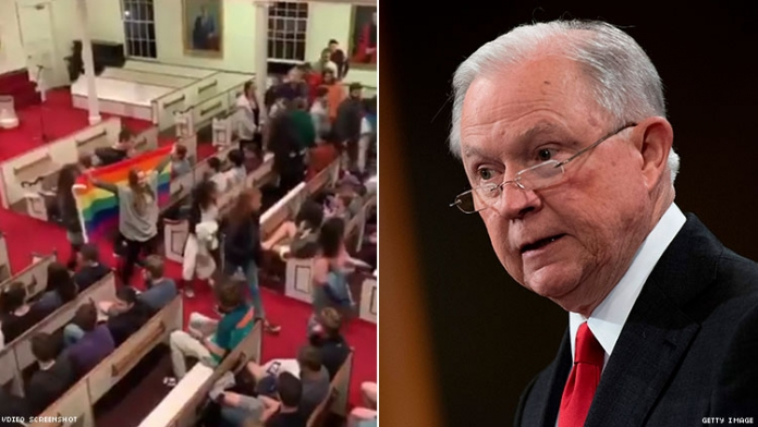 Students Protest Jeff Sessions's Speech With Walkout, Pride Flag