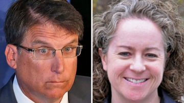 North Carolina Governor Pat McCrory and Family Equality Council leader Emily Hecht-McGowan
