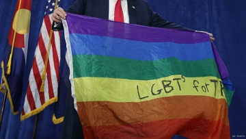 Donald Trump and rainbow flag in Colorado