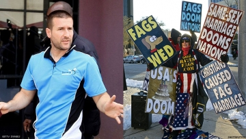 Steven Anderson and Westboro protester