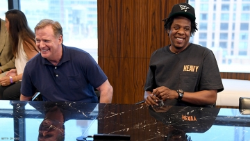 NFL Commissioner Roger Goodell and Jay Z at the Roc Nation and NFL Partnership Announcement at Roc Nation on August 14, 2019 in New York City.