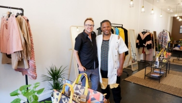 Author Jacob Anderson-Minshall with WeDu designer Coreon Du