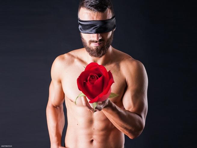 2. Give him a rose — when he's blindfolded.