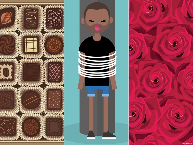 5. Gift trifecta: Chocolate, roses, and rope.
