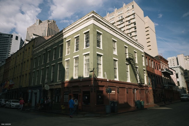 Corner of Iberville and Chartres, where the UpStairs Lounge ran as a secretive gay establishment on the building's second floor. This became the site of the deadliest fire in New Orleans history.
