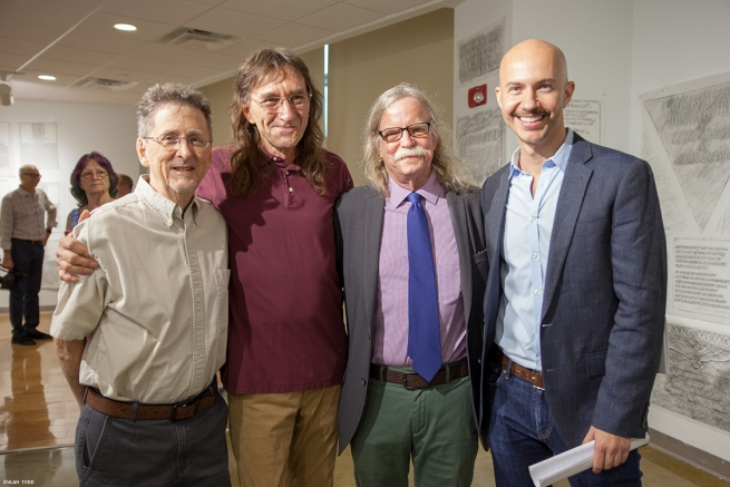 Architect Tom Lockridge, artist and antique dealer Wayne Stodhill, and Sanford Thompson with founder of The Gay Rub, Steven Reigns.