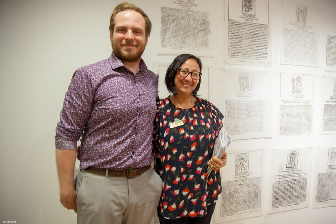 J. Tyler Odie and Stephanie Lance representing the exhibition's largest sponsor to The Humanities Department at University of South Florida