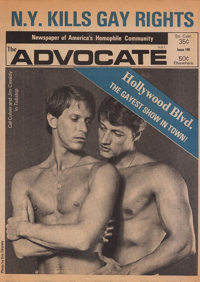 The Advocate, with Photo of Calvin Culver (Brian) and Jim Cassidy (Bob) (1974) Photographer: Eric Skipsey