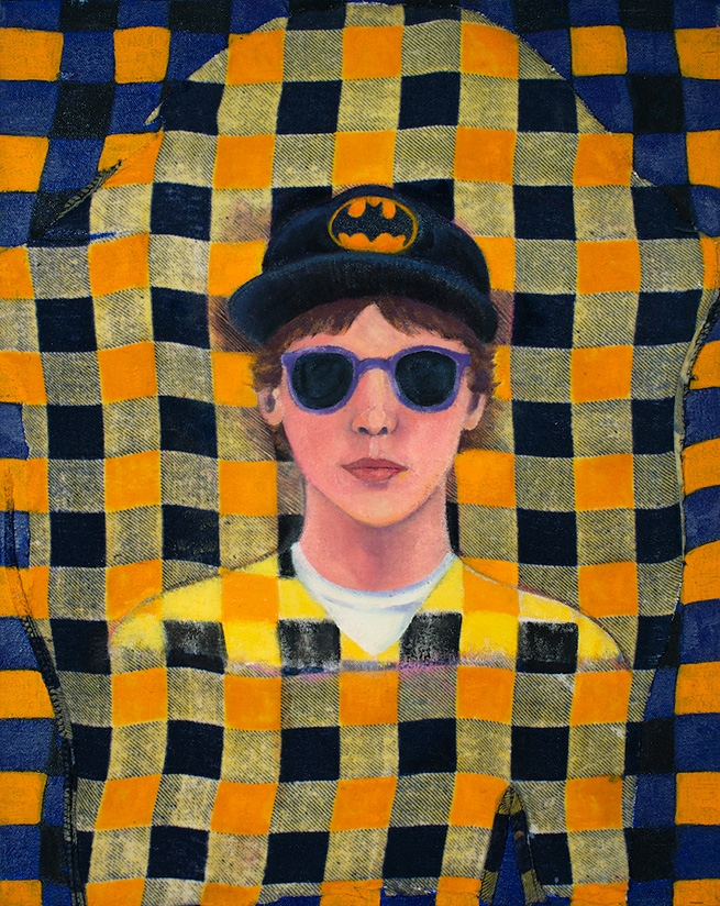 Tomboy Portrait With Sunglasses and Batman Hat On Yellow Flannel Shirt.