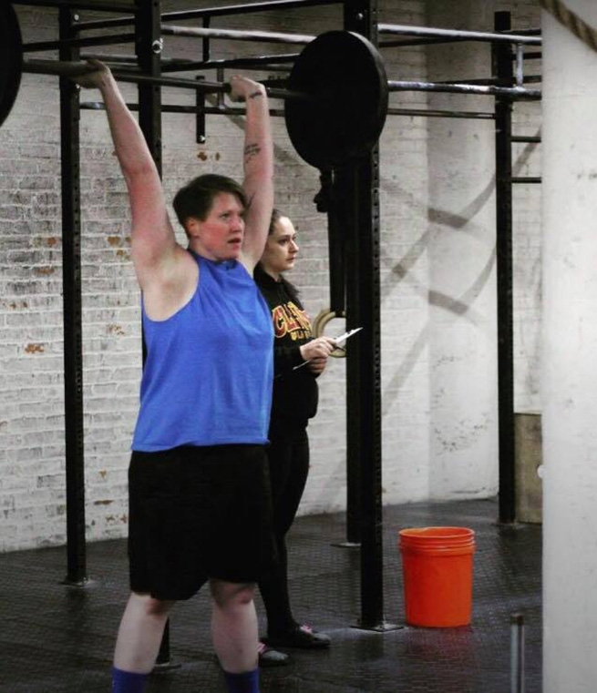 Brittany Freese, mid workout, at CrossFit CLE in Cleveland Ohio.