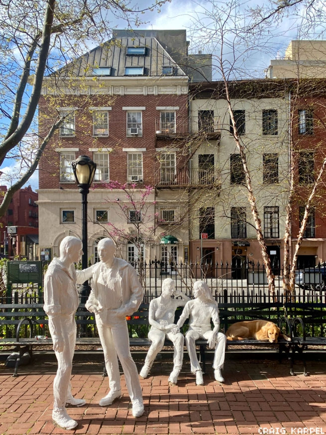 Mingling with statues at the Stonewall National Monument.