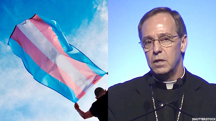 Transgender flag and Indianapolis Archbishop Charles Thompson