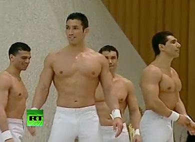 Shirtless Acrobats Entertain the Pope