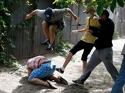 Image Shows Gay Activist Being Pummeled