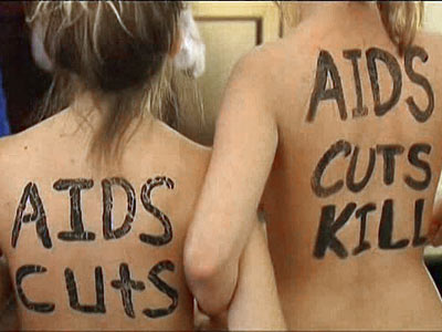 Naked AIDS Activists Protest at Boehner's Office