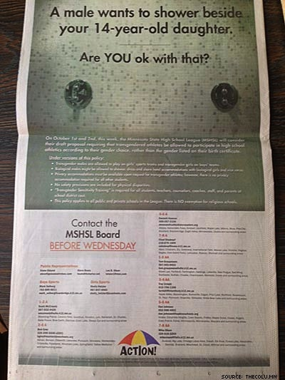 Outrage After Major Minn. Paper Sells Transphobic Coalition Full-Page Ad
